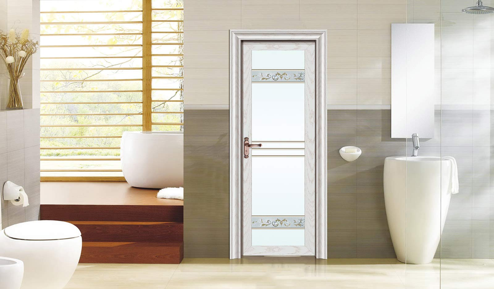 China aluminum toilet bathroom door